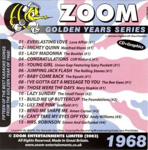 Zoom Karaoké Golden Years 1968 (CD+G)